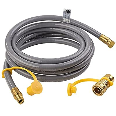 "SHINESTAR 12Feet Natural Gas and Propane Gas Hose Assembly for Low Pressure Appliance -3/8"" Female Pipe Thread x 3/8"" Male Flare Quick Connect/Disconnect"
