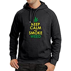 Hoodie Keep Calm and Smoke - Marijuana Leaf Weed Smoker (Small Black Yellow)