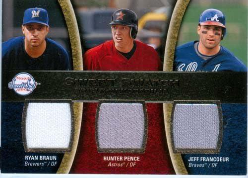 B00BAJWBR0 2008 Sweet Spot Authentic Ryan Braun, Hunter Pence & Jeff Francoeur Triple Game Worn Jersey Card 51t62B7IGTiL
