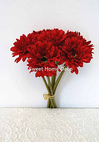 Sweet Home Deco 13'' Silk Artificial Gerbera Daisy Flower Bunch (W/7stems, 7 Flower Heads) Home/Wedding (Red)
