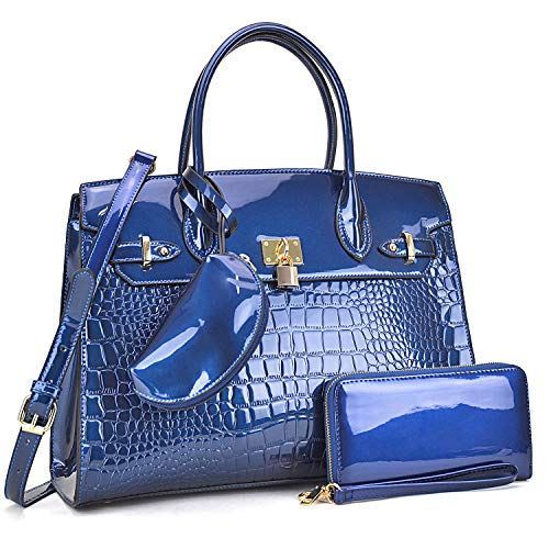 DASEIN Women Purses and Handbags Shoulder Bags Ladies Tote Bags Satchel with Wallet (002- Navy)