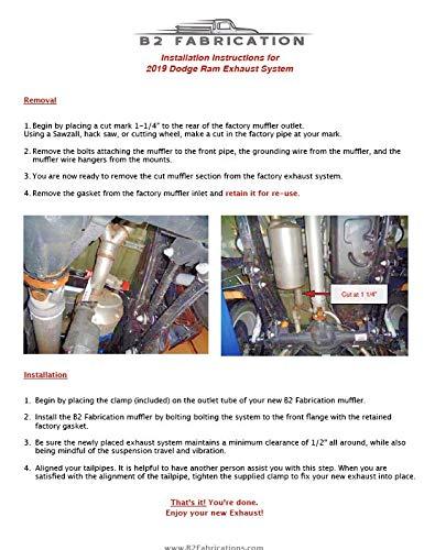 B2 Fab 2019 & up Ram 1500 Hemi Exhaust retrofitmuffler eliminator, USA  made, Stainless