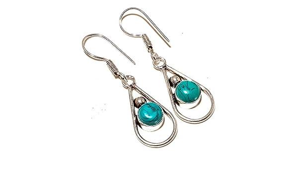 Blue Turquoise Sterling Silver Overlay 5 Grams Earring 1.75 Long Latest Design