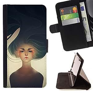 "For Sony Xperia M4 Aqua,S-type Chica Heartbreak Sun Arte Pintura"" - Dibujo PU billetera de cuero Funda Case Caso de la piel de la bolsa protectora"