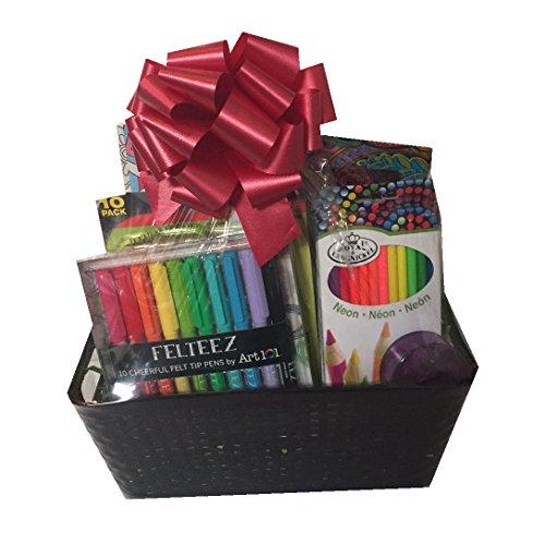 Adult-Coloring-Stress-Relief-Gift-Basket-4-Coloring-Books-24-Colored-Pencils-Gel-Pens-Felt-Tip-Markers-Sharpener
