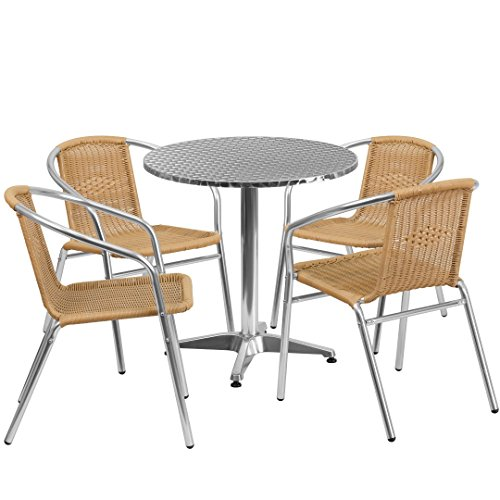 MFO 27.5'' Round Aluminum Indoor-Outdoor Table with 4 Beige Rattan Chairs