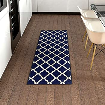 Trellis Bathroom Mat Navy