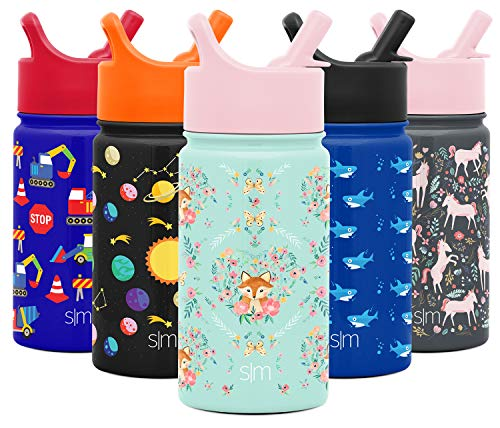 Simple Modern 14oz Summit Kids Water Bottle Thermos with Straw Lid - Dishwasher Safe Vacuum Insulated Double Wall Tumbler Travel Cup 18/8 Stainless Steel - Fox and The Flower