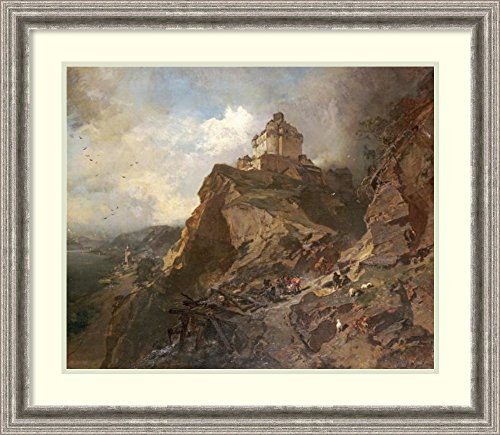 Framed Art Print 'The Marksburg On The River Rhine' by Charles Hoguet (River Framed Rhine)
