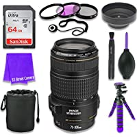 Canon EF 70–300mm f/4–5.6 IS USM Lens for Canon DSLR Cameras & SanDisk 64GB Class 10 Memory Card + Complete Accessory Kit (11 Items)