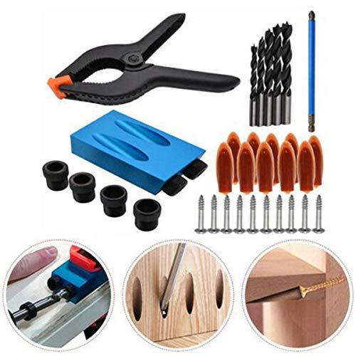 Magicxo 14Pcs Pocket Jig Kit Heavy Duty Easy Tool System Woodworking Screw Drill