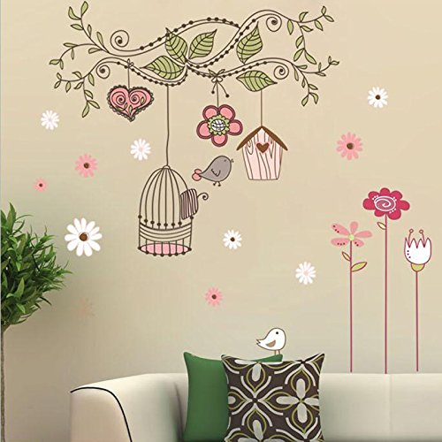 Alrens_DIY(TM) Happy Tree Vine Freely Bird House Empty Cage DIY PVC Wall Sticker Removable Home Decoration Décor Kids Nursery Room Living Room Decorative Decal Decor by Alrens