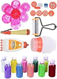"""Odishabazaar Ready to Draw Rangoli Making Kit 10 Stencil 8""""(with Outer) + 6 Stamp + 1 Roller + 1 Rangoli Pen + 1 Filler + 1 Galicha Patta + 10 Bottle Color(100gm)"""