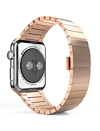 Apple Watch Band, MoKo Stainless Steel Replacement Smart Watch Band Wrist Strap Bracelet with Butterfly Buckle Clasp for 42mm Apple Watch All Models - Rose GOLD (Not Fit iWatch 38mm Version 2015)