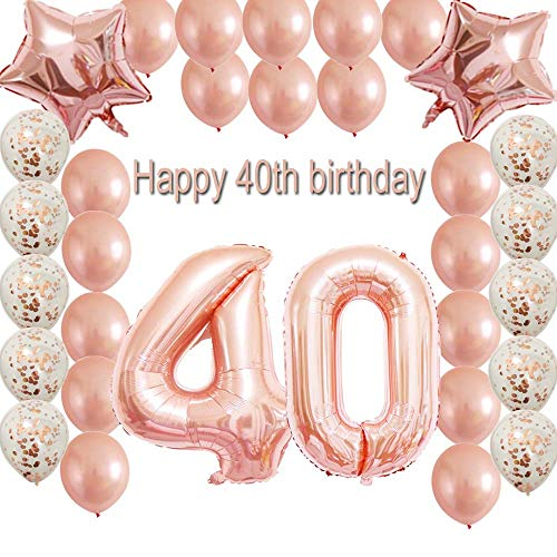 40th Birthday Decorations Party Supplies Set Rose Gold Confetti Latex Balloons Happy