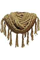 Luxury Divas Heavy Knit Circle Scarf With Draping Fringe