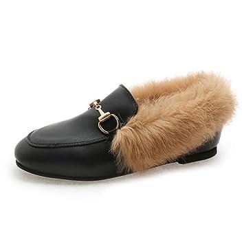 Boots Calzado Casual de Invierno, Zapatos de Cuero Pequeños, Zapatos Bordados Planos de Moda, Mocasines de Mujer: Amazon.es: Deportes y aire libre