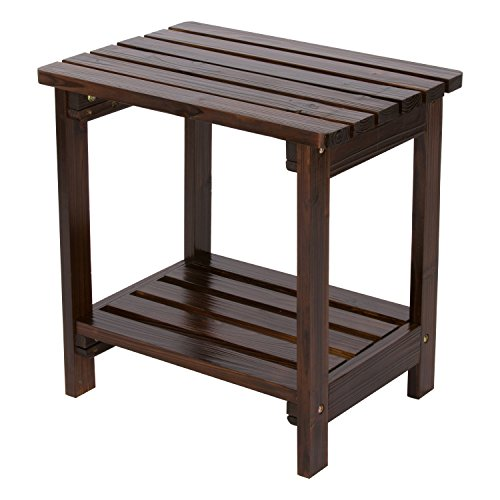 Shine Company Rectangular Side Table, Burnt Brown - Cedar Square Patio Table