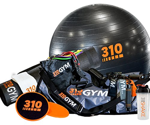 310 Gym Complete Set | Gym In A Bag Comes With Circular and Standard Resistance Bands | Core Sliders | Non-Slip Yoga Mat | Yoga Core Exercise Ball with Pump | Jump Rope | Workout Towel and Free Shaker