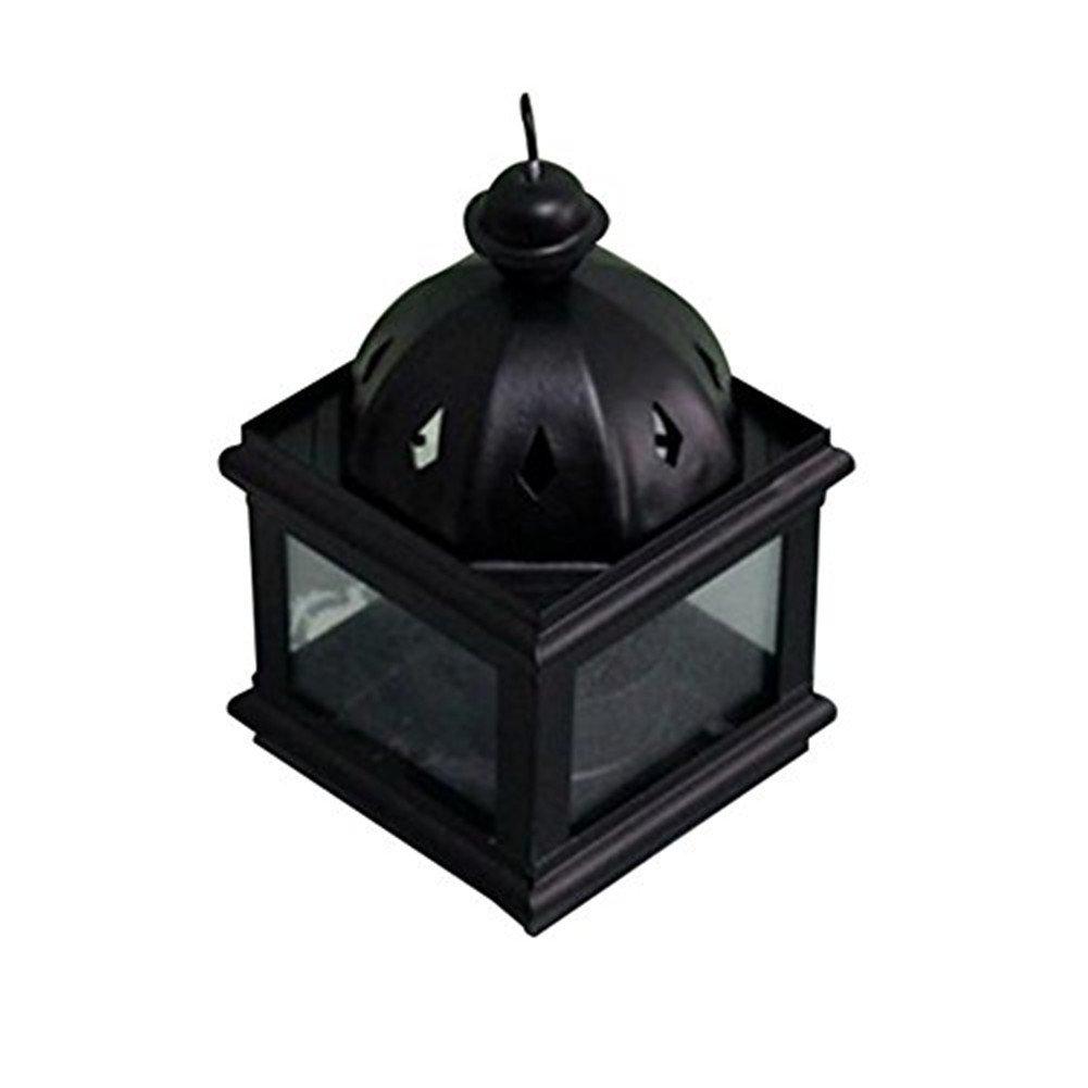 Dylandy Portavelas de Metal para Velas de Vela, Diseño Retro, Color Negro, para Uso en Interiores y Exteriores, 6 x 11 cm, Metal, Black a, 6.5 * 12.5CM