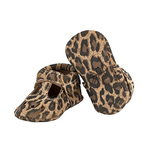 Freshly Picked Leopard Mary Jane Soft Sole Leather Baby Moccasins - Size 1