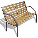 vidaXL Patio Outdoor Garden Bench Wooden Iron Metal Curved Back/Armrests Yard Furniture