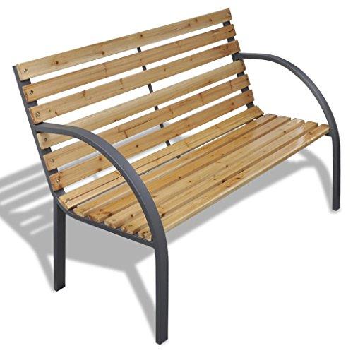 Garden Bench Curved (vidaXL Patio Outdoor Garden Bench Wooden Iron Metal Curved Back/Armrests Yard Furniture)