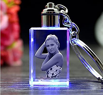AADYA CRYSTAL Engraved Gifts, Single Image 3D Photo Personalized Laser  Engrave Crystal Cube Key Chain LED Light, Multicolur
