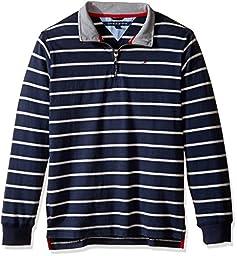 Tommy Hilfiger Little Boys\' Stripe Half Zip Suede Jersey Sweater, Swim Navy, 7