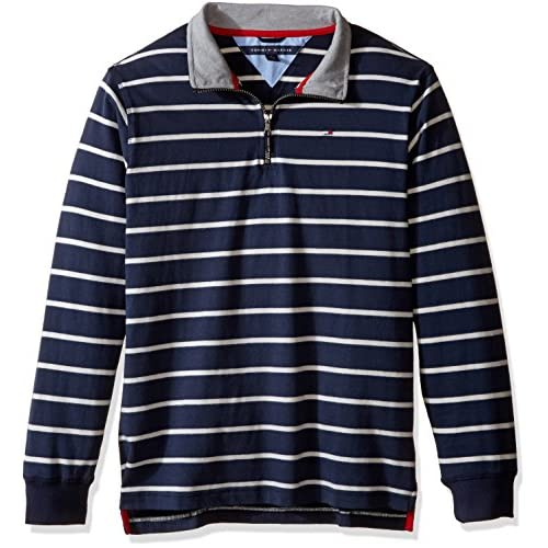 top Tommy Hilfiger Kids Mens Stripe 1/2 Zip Sueded Jersey Sweater (Toddler/Little Kids) on sale