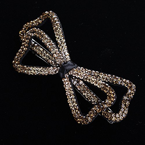 LIZHONG-SLT The new top clamp large transverse clip diamond hairpin head ornaments elegant hair hair ornaments duckbill clip,Champagne gold (spring clip)