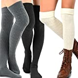 TeeHee Cable Turn Cuff Over the Knee High, One Size, 3 Pair Combo