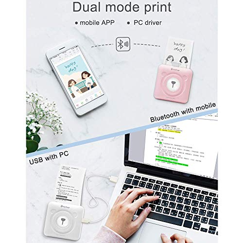 SUNSHAN Portable Photo Printer, Thermal Printer, Mini Cute Bear Photo Printer, Bluetooth Wireless Link, Instant Mobile Photo Printer, inkless Printer, can be Used to Print Social Photos,White by SUNSHAN (Image #3)