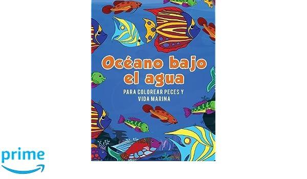 Océano bajo el agua para colorear peces y vida marina (Spanish ...