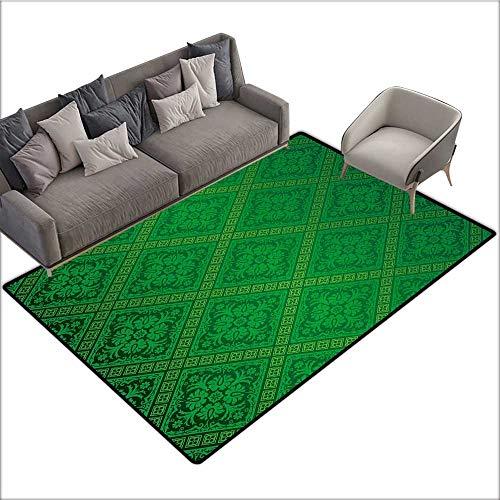 (Green Decorative Floor mat Vector Illustration Seamless Pattern of Foliage Wallpaper Pattern Artwork Print 78