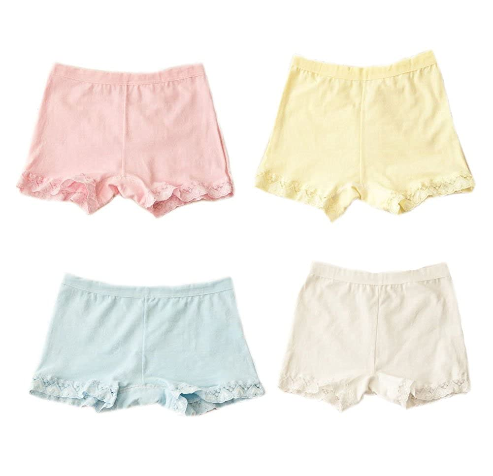 Set of 4 Lace Brim Solid Cotton Underwears for Girls from 9-13 Years Old