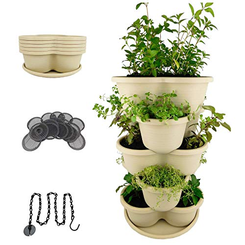 Amazing Creation Stackable Planter Vertical Garden for Growing Strawberries, Herbs, Flowers, Vegetables and Succulents| Indoor/Outdoor 5 Tier Gardening Tower| Hanging Planter - Grow Pot Strawberry Garden