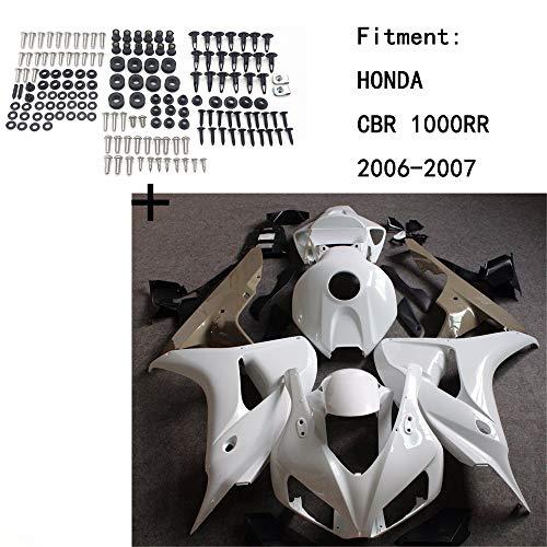 HONGK- Unpainted ABS Body work Fairing Kit w/screw Compatible with HONDA CBR 1000RR 2006-2007 INJECTION [B07QDZXZJQ]