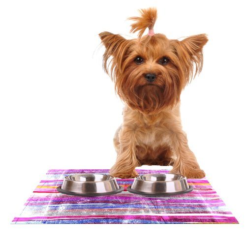 Kess InHouse Frederic Levy-Hadida Fancy Stripes Pink  Feeding Mat for Pet Bowl, 18 by 13-Inch