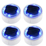 Solar Lights Outdoor 360-degree Solar Ground Lights Deck Path Driveway Pool Fountain Step 4 Pack(Blue)