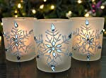 """BANBERRY DESIGNS Snowflake Candleholders with Flameless Flickering LED Candles Set of 3 Frosted Glass Glittery Snowflakes with Jewels - 2.75"""" H"""
