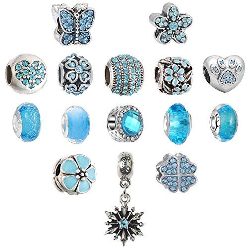 N'joy 16PC Assorted Crystal Rhinestone Charm Beads,Clap,Stoper,Dangle Pendant,Fit European Charm Bracelet,March Birthstone (Flower-Aquamarine) (March Birthstone Flower)