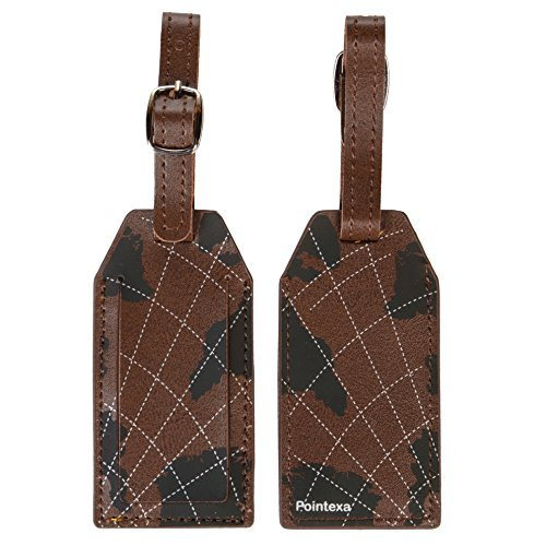 Deluxe Luggage Tags Leather Personalized Name ID Initial Card Holder 2 Bag Tags