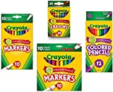 Crayola Crayons (24 Count), Crayola Colored Pencils in Assorted Colors (12 Count), Crayola (10ct) Classic Fine Line Markers, and Crayola (10ct) Classic Broad Line Markers Holiday  Bundle