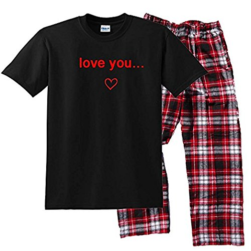 Footsteps Clothing Love You Set; Adult Large; CRB Plaid (Pants Couple Sets)