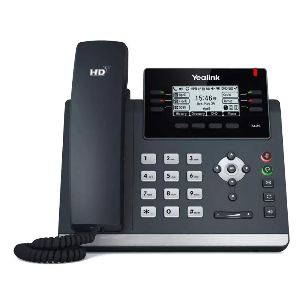 Yealink T42S IP Phone, 12 Lines. 2.7-Inch Graphical Display. Dual-Port Gigabit Ethernet, 802.3af PoE, Power Adapter Not Included (SIP-T42S)