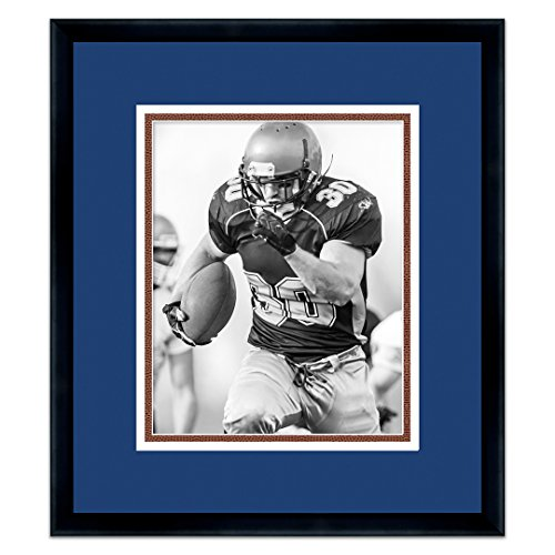 Indianapolis Colts Black Wood Frame for a 8x10 Photo with a Triple Mat - Royal Blue, White, and Football Textured Mats ()