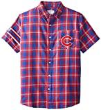 KLEW MLB Chicago Cubs Wordmark Flannel Short Sleeve Button-Up Shirt