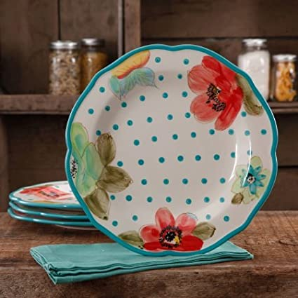 The Pioneer Woman The Pioneer Woman Vintage Bloom 4-Pack Scalloped Dinner Plate Set, Multi-Color
