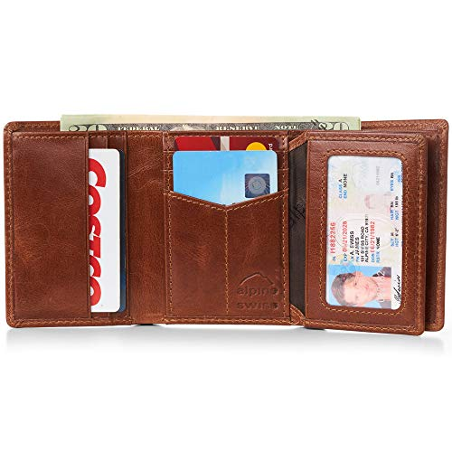 Alpine Swiss RFID Mens Wallet Deluxe Capacity Trifold With Divided Bill Section Trifold Brown ()